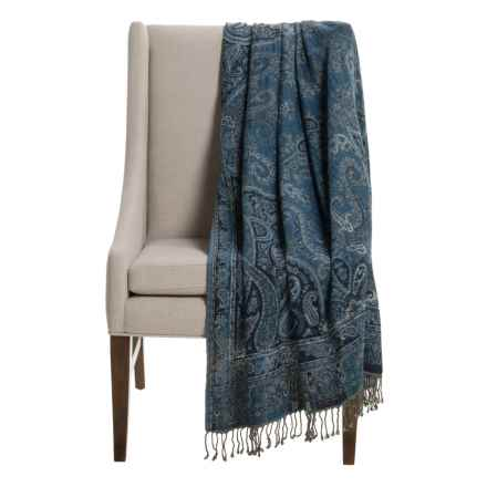"""Melange Home Mojave Throw Blanket - 50x70"""", Cotton-Wool in Paisley - Closeouts"""