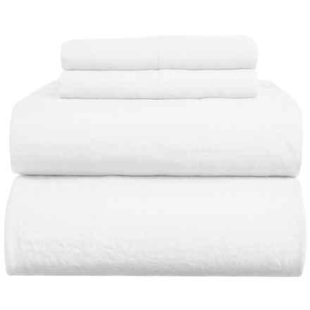 Melange Home Natural Linen Sheet Set - King in White - Closeouts