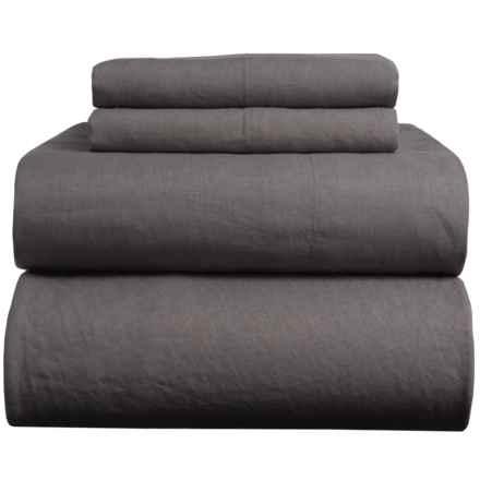 Melange Home Natural Linen Sheet Set - Queen in Dark Grey - Closeouts
