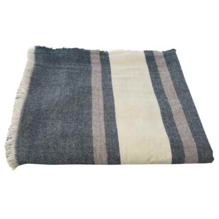 Melange Home Navy Woodland Yarn-Dyed Blanket - King, Wool-Blend in Navy - Closeouts