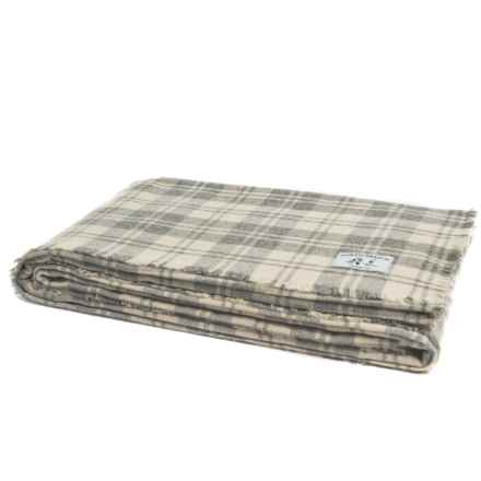 Melange Home NYC North Branch Granite Plaid Blanket - King, Wool Blend in Grey/Ivory - Closeouts
