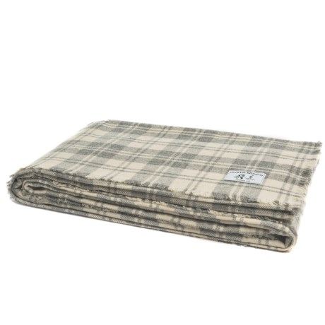Melange Home NYC North Branch Granite Plaid Blanket - King, Wool Blend in Grey/Ivory