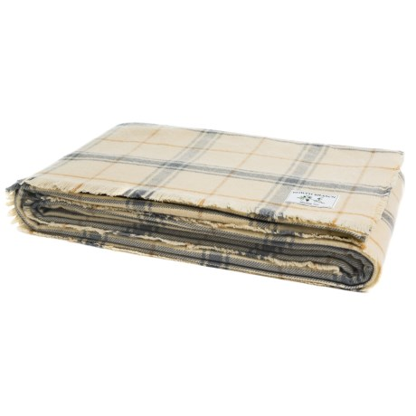 Melange Home NYC North Branch Windowpane Yarn-Dyed Blanket - Full-Queen, Wool Blend in Ivory/Natural