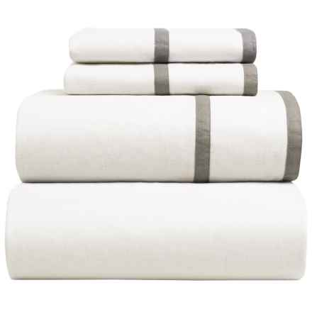 Melange Home Parallel Sheet Set - Full, Linen-Cotton in Grey/White - Closeouts