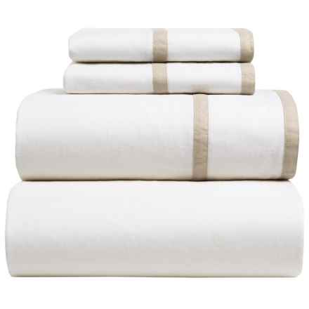 Melange Home Parallel Sheet Set - Queen, Linen-Cotton in Khaki/White - Closeouts