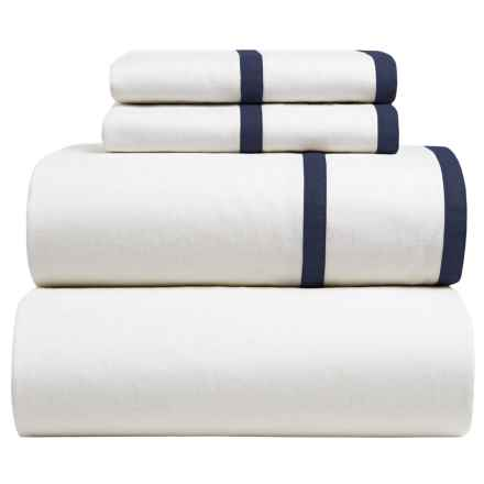 Melange Home Parallel Sheet Set - Queen, Linen-Cotton in Navy/White - Closeouts