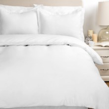 Melange Home Percale Two-Pleat Duvet Set - Full/Queen, 300 TC Egyptian Cotton in Bright White - Overstock