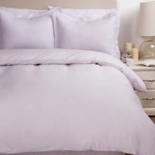Melange Home Percale Two-Pleat Duvet Set - King, 300 TC Egyptian Cotton in Nimbus Grey - Overstock