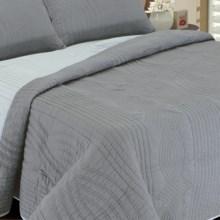 Melange Home Plaza Reversible Quilt - Full-Queen in Dark Grey/Light Grey - Closeouts