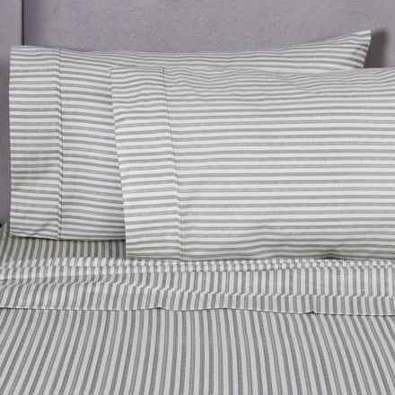 Melange Home Printed Sheet Set - King, 400 TC Cotton in Grey Stripe - Closeouts