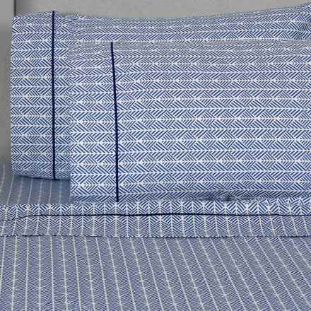 Melange Home Printed Sheet Set - Queen, 400 TC Cotton in Blue Arrows - Closeouts