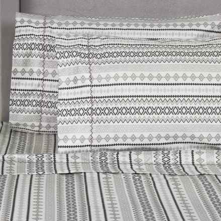 Melange Home Printed Sheet Set - Queen, 400 TC Cotton in Dark Grey/Grey Aztec - Closeouts