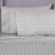 Melange Home Printed Sheet Set - Queen, 400 TC Cotton in Grey Stripe - Closeouts