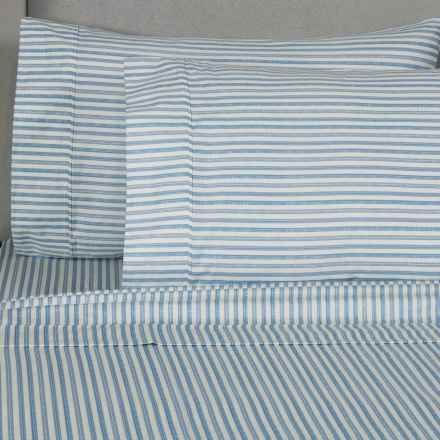 Melange Home Printed Sheet Set - Queen, 400 TC Cotton in Navy Stripe - Closeouts
