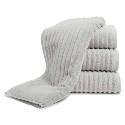 Melange Home Ribbed Hand Towels - 4-Piece Set, Turkish Cotton in Pebble Grey - Closeouts