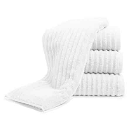 Melange Home Ribbed Hand Towels - 4-Piece Set, Turkish Cotton in White - Closeouts