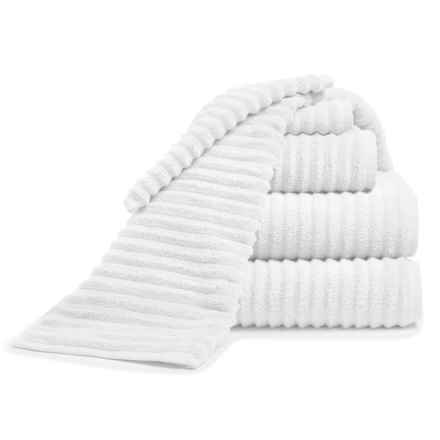 Melange Home Ribbed Turkish Cotton Bath Towel Set - 6-Piece Set in White - Closeouts