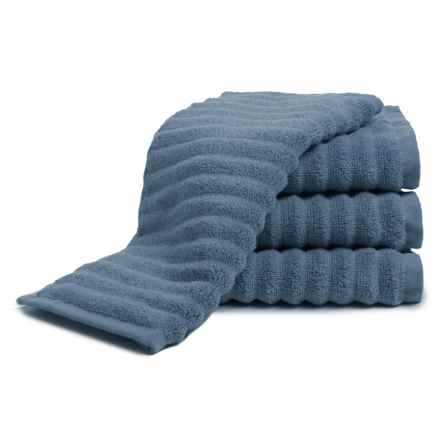 Melange Home Ribbed Washcloths - 4-Piece Set, Turkish Cotton in Slate Blue - Closeouts