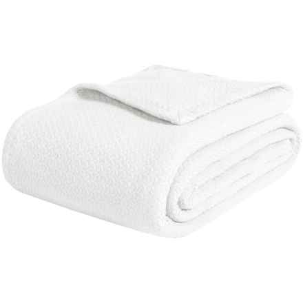 Melange Home Ring-Spun Combed Cotton Blanket - King in White - Closeouts