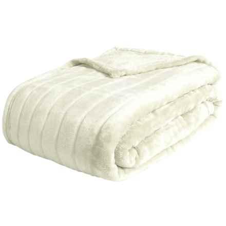 Melange Home Ron Chereskin Sculpted Bliss Velvet Fleece Blanket - King in Ivory - Closeouts