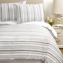 Melange Home Seersucker Embellished Duvet Set - Full/Queen in White/Grey - Overstock