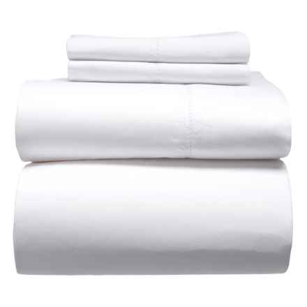 Melange Home Solid Hemstitch Cotton Sheet Set - Full, 400 TC in White - Closeouts
