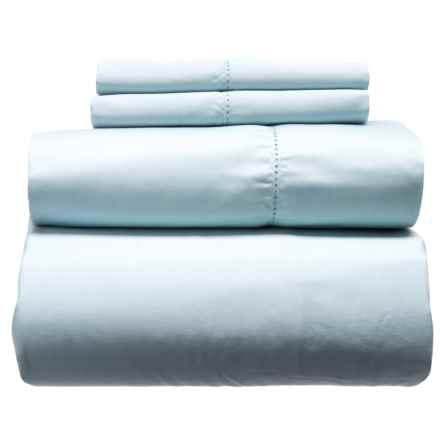 Melange Home Solid Hemstitch Cotton Sheet Set - Queen, 400 TC in Sky Blue - Closeouts