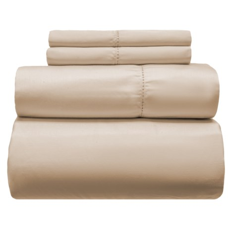 Melange Home Solid Hemstitch Cotton Sheet Set - Queen, 400 TC in Taupe