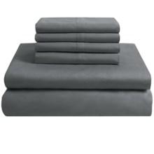 Melange Home Solid Sateen Sheet Set - Queen, 400 TC Combed Cotton, 6-Piece in Dark Grey - Overstock