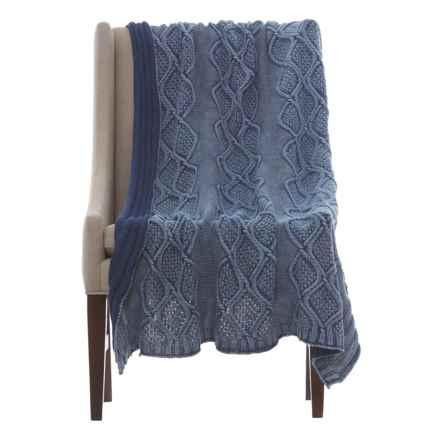 "Melange Home Stonewashed Denim Knit Throw Blanket - 50x70"" in Denim - Closeouts"
