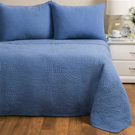 Melange Home Stonewashed Swirl Quilt Set - Full-Queen in Denim Blue - Closeouts