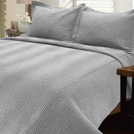 Melange Home Striped Seersucker Quilt - Full-Queen in Charcoal - Closeouts