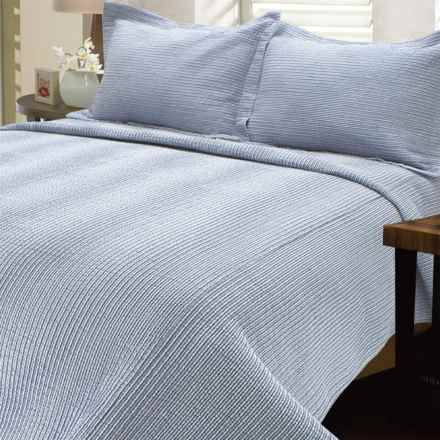 Melange Home Striped Seersucker Quilt - King in Classic Blue - Closeouts