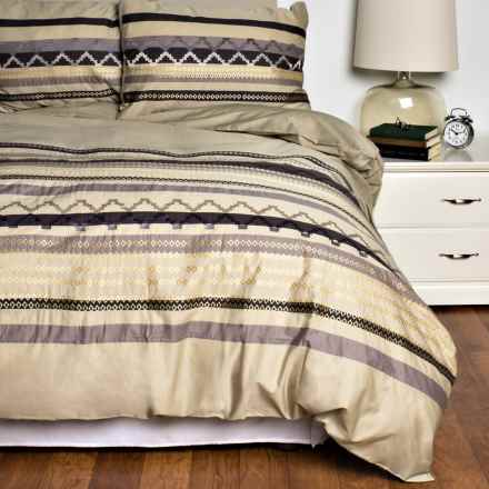 Melange Home Telluride Embroidered Duvet Set - Full-Queen, 200 TC in Gold/Charcoal - Closeouts