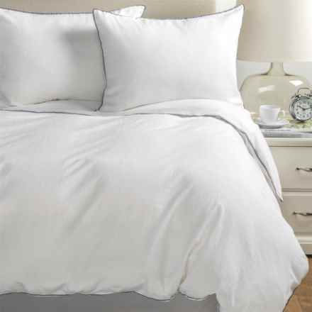 Melange Home Tipped Duvet Set - Full-Queen, Linen-Cotton in Grey/White - Closeouts