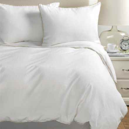 Melange Home Tipped Duvet Set - Full-Queen, Linen-Cotton in Khaki/White - Closeouts