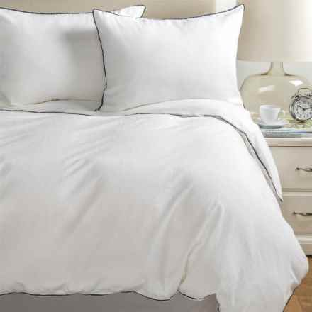 Melange Home Tipped Duvet Set - Full-Queen, Linen-Cotton in Navy/White - Closeouts