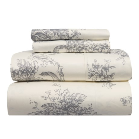 Melange Home Toile Cotton Sheet Set - Full, 400 TC in Grey
