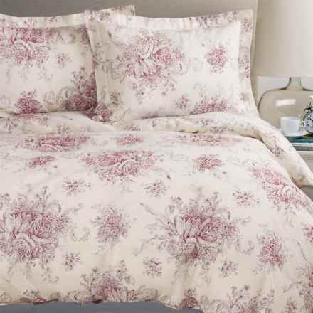 Melange Home Toile Duvet Set - Full-Queen, Linen-Cotton in Burgundy/Natural - Closeouts