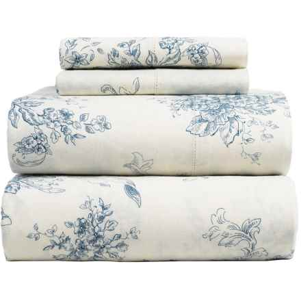 Melange Home Toile Sheet Set - King, Linen-Cotton in Navy/Natural - Closeouts