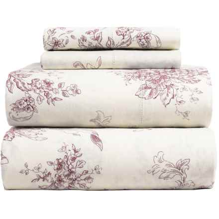 Melange Home Toile Sheet Set - Queen, Linen-Cotton in Burgundy/Natural - Closeouts