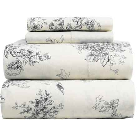 Melange Home Toile Sheet Set - Queen, Linen-Cotton in Charcoal/Natural - Closeouts