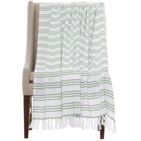 "Melange Home Triple-Stripe Throw Blanket - 50x70"" in Kale Green"