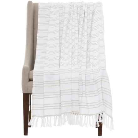 "Melange Home Triple-Stripe Throw Blanket - 50x70"" in Natural Line - Closeouts"