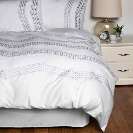 Melange Home Vail Embroidered Duvet Set - Full-Queen in White/ Grey - Closeouts