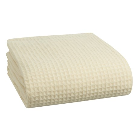 Melange Home Waffle-Weave Wool Blanket - King in Ivory