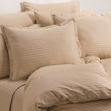 Melange Home Wide Dobby Stripe Duvet Set - Full-Queen, 400 TC in Latte - Overstock