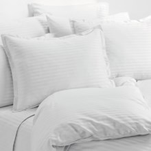 Melange Home Wide Dobby Stripe Duvet Set - Full-Queen, 400 TC in White - Overstock