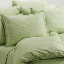 Melange Home Wide Dobby Stripe Duvet Set - King, 400 TC in Honey Dew - Overstock