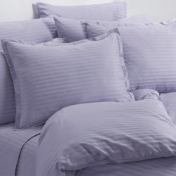 Melange Home Wide Dobby Stripe Duvet Set - King, 400 TC in Lavender